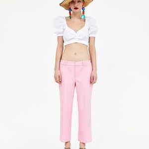 Zara Cropped Pants Trousers Pink XS